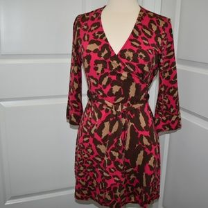 DVF wrap dress brown tan and pink
